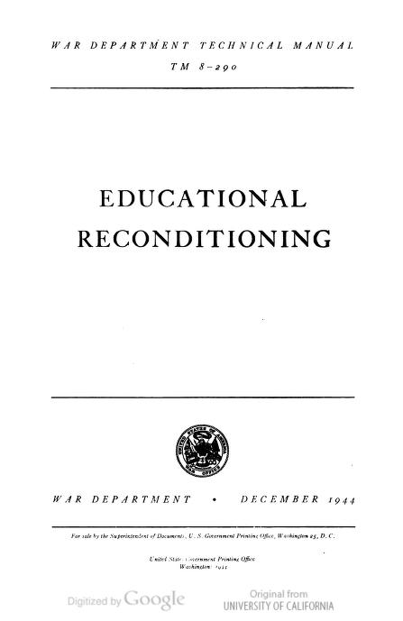 United States. War Department - TM 8-290 Educational Reconditioning