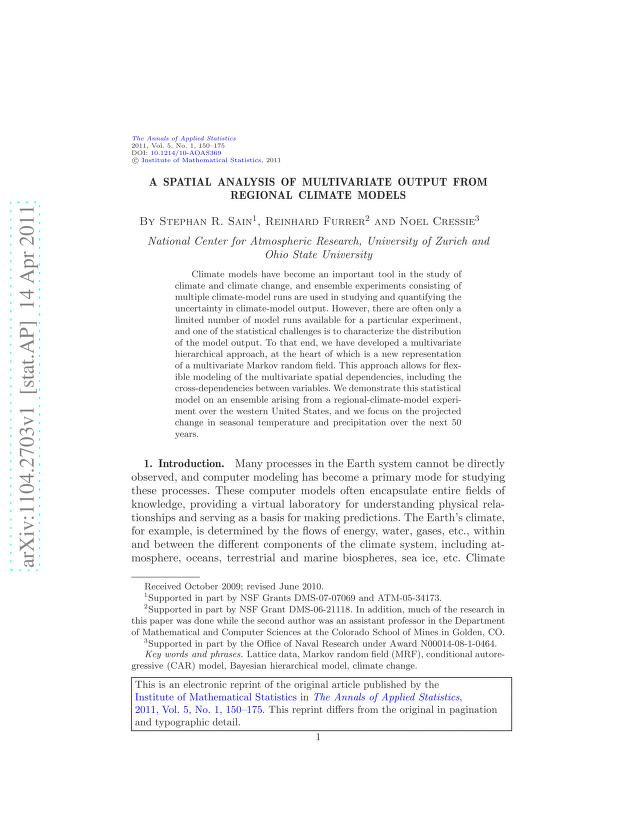 Stephan R. Sain - A spatial analysis of multivariate output from regional climate models