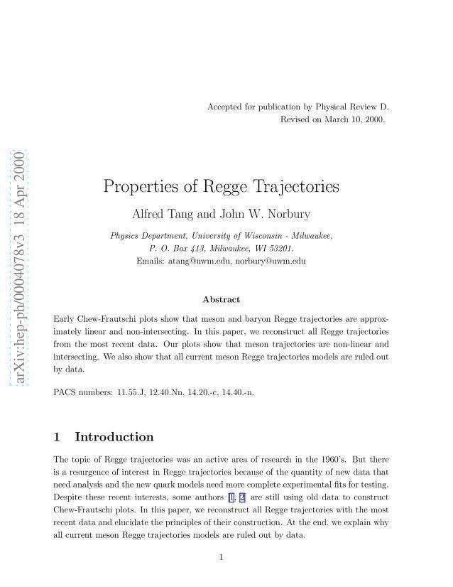 Alfred Tang - Properties of Regge Trajectories