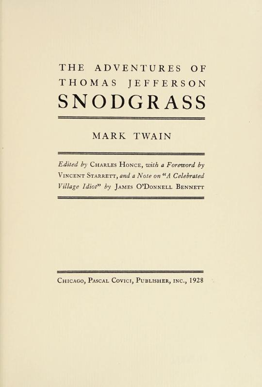The adventures of Thomas Jefferson Snodgrass by Mark Twain