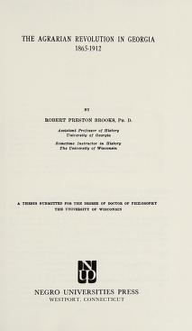 Cover of: The agrarian revolution in Georgia, 1865-1912   Brooks, Robert Preston