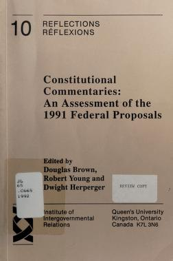 Cover of: Constitutional commentaries | edited by Douglas Brown, Robert Young, and Dwight Herperger.