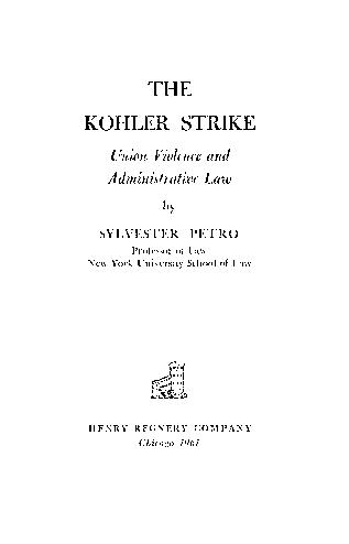 The Kohler Strike by Sylvester Petro